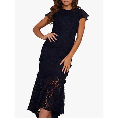 Chi Chi London Loren Lace Floral Crochet Dress, Navy