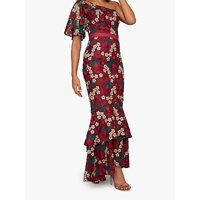 Chi Chi London Aster Floral Crochet Maxi Dress, Red/Blue