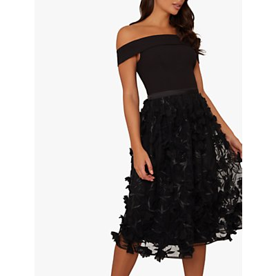 Chi Chi London Daxi Floral Embroidered Bardot Dress, Black