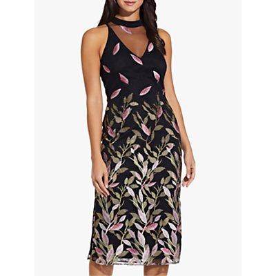 Adrianna Papell Fluttering Leaves Sheath Dress, Black/Multi