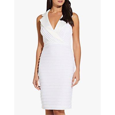 Adrianna Papell Pintuck Tuxedo Dress, Ivory