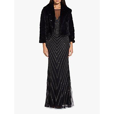 Adrianna Papell Hooded Fur Jacket, Black