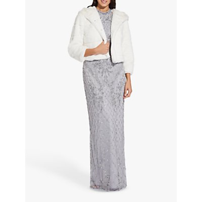 Adrianna Papell Faux Fur Hooded Jacket, Ivory
