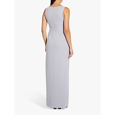 Adrianna Papell Long Crepe Dress, Bridal Silver