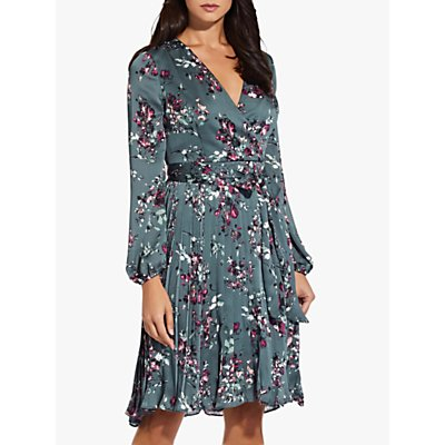 Adrianna Papell Crinkle Satin Floral Wrap Front Dress, Green/Multi