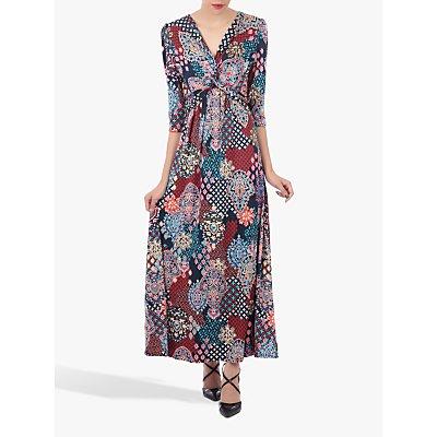 Jolie Moi Twist Front Maxi Dress, Navy Paisley