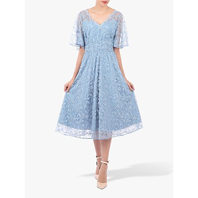 Jolie Moi Flare Lace Midi Dress