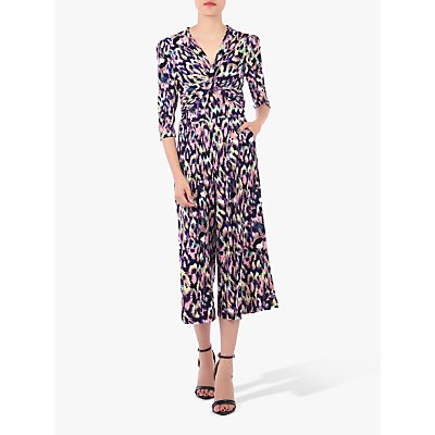 Jolie Moi Printed Twist Front Jumpsuit, Abstract Multi