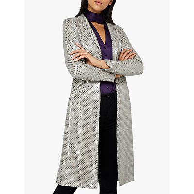 Monsoon Kristina Sequin Duster Jacket, Silver