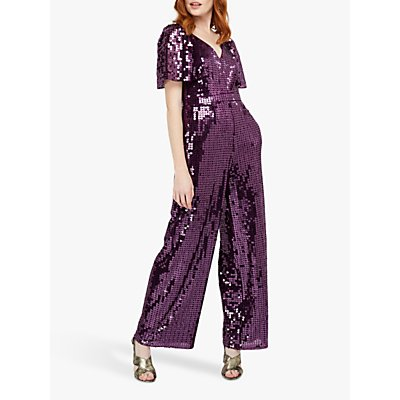 Monsoon Harriette Heart Sequin Jumpsuit, Purple