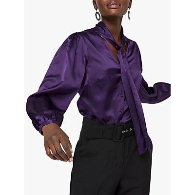 Monsoon Silk Blend Tie Neck Blouse, Purple