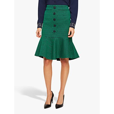 Damsel in a Dress Sabri Tweed Skirt, Green/Navy