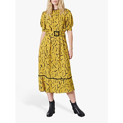 Finery Cora Matchstick Print Midi Dress, Lime/Yellow