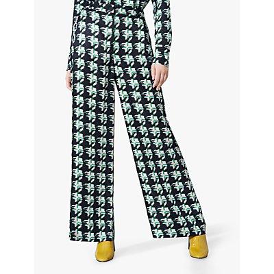 Finery Ashbridge Matchstick Print Wide Leg Trousers, Green/Multi