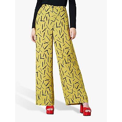 Finery Ashbridge Abstract Wide Leg Trousers, Yellow