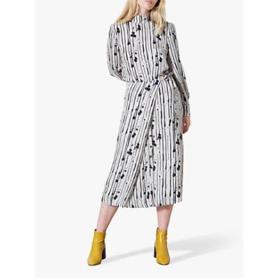 Finery Akenside Stripe Tie Waist Midi Skirt, Grey/Black