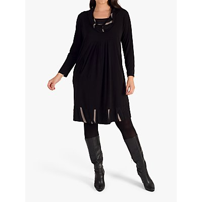 Chesca Cowl Collar Trim Jersey Dress. Black/Taupe