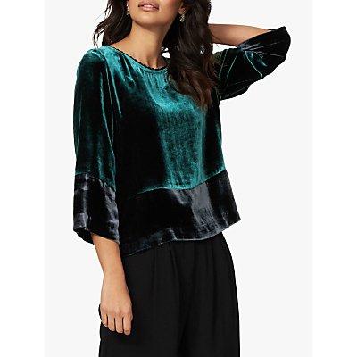 Brora Velvet Silk Blend Colour Block Blouse, Teal/Ink