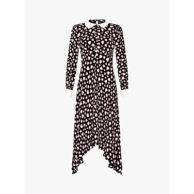 Ghost Harison Tatty Heart Print Dress, Black/Multi