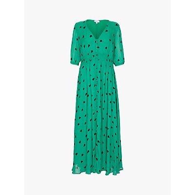 Ghost Valentina Heart Print Dress, Green