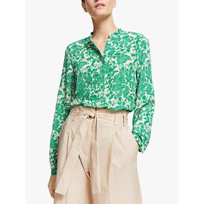 Marella Boccale Silk Floral Print Blouse, Emerald Green