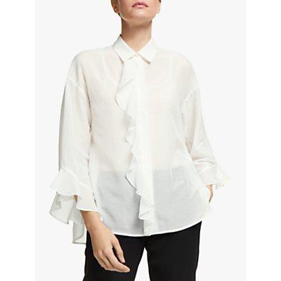 Marella Khat Long Sleeve Ruffle Blouse, White