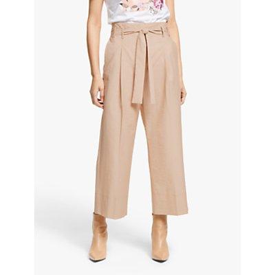 Marella Finanza High Waisted Wide Leg Cropped Trousers, Beige