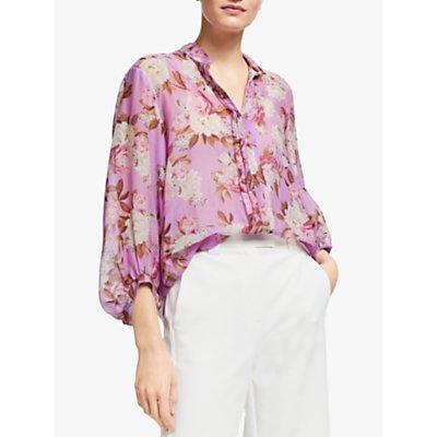 Marella Spalto Floral Print Long Sleeve Blouse, Lilac