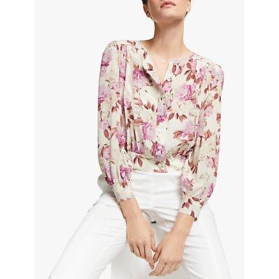 Marella False Long Sleeve Floral Printed Blouse, White