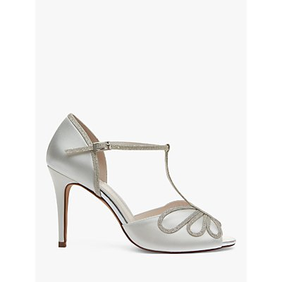 Rainbow Club Luciana Shimmer Satin T-Bar Sandals, Ivory