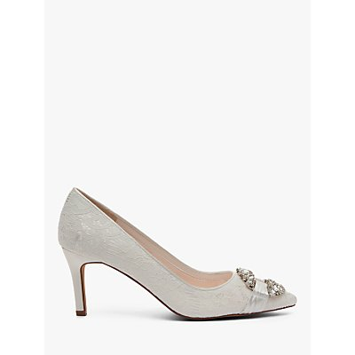 Rainbow Club Giovanna Luxury Lace Jewel Court Shoes, Ivory