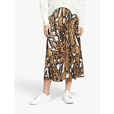 Gestuz Lorigz Abstract Print Midi Skirt, Beige/Multi