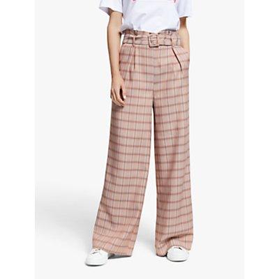 Gestuz Jingz Check Wide Leg Trousers, Brown