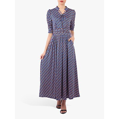 Jolie Moi Tie Neck Geometric Print Maxi Dress, Blue Geo