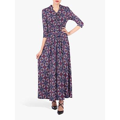 Jolie Moi Retro Print Tie Neck Maxi Dress, Multi
