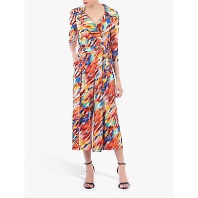 Jolie Moi Revere Collar Abstract Print Jumpsuit, Orange/Multi