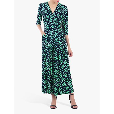 Jolie Moi Spot Print Wrap D-Ring Jumpsuit, Green