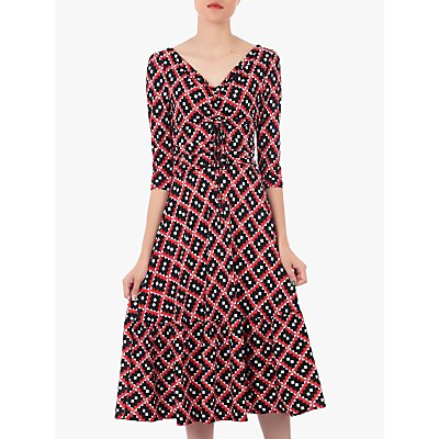 Jolie Moi Print Flounce Hem Midi Dress