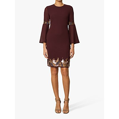 Raishma Embellished Tunic Dress, Burgundy