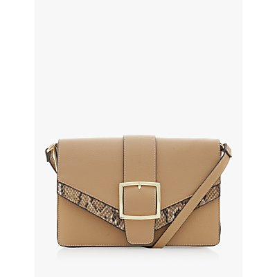 Dune Elijahh Buckled Cross-Body Bag, Camel