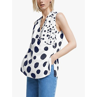 "Mother of Pearl Tencelâ""¢ Sleeveless Spot Print Wrap Top, Ivory/Multi"