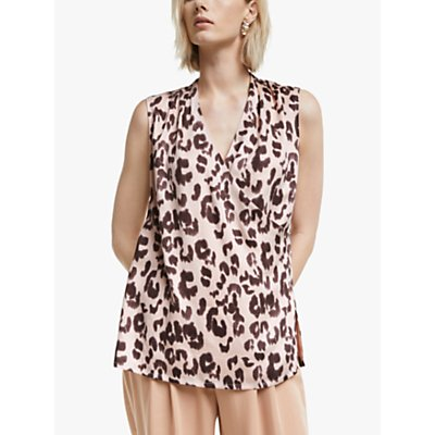 "Mother of Pearl Tencelâ""¢ Sleeveless Leopard Print Wrap Top, Pink/Multi"