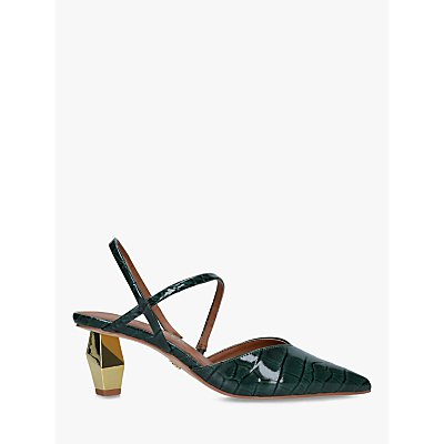 Kurt Geiger London Della Mirrored Heel Slingback Court Shoes, Green Croc Print