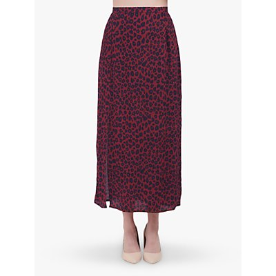 Lily and Lionel Grace Leopard Print Skirt, Winter Berry