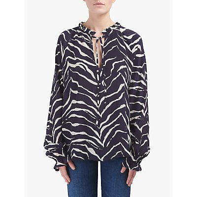 Lily and Lionel Florence Animal Print Top, Tiger Navy