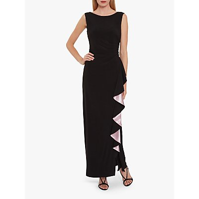 Gina Bacconi Lockie Jersey Frill Maxi Dress, Black/Pink