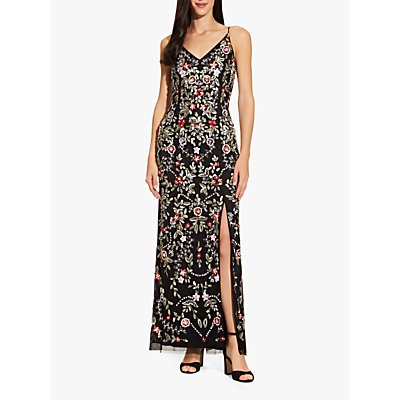 Adrianna Papell Beaded Floral Dress, Black