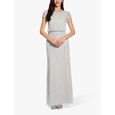 Adrianna Papell Blouson Beaded Dress, Blue Heather/Silver