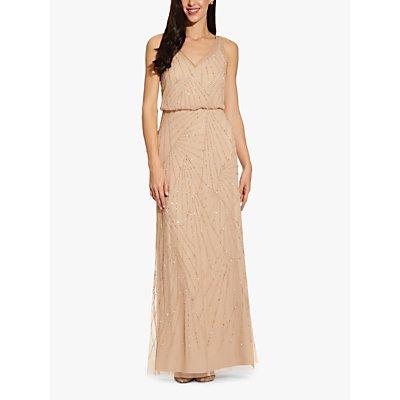 Adrianna Papell Sleeveless Beaded Maxi Dress, Champagne