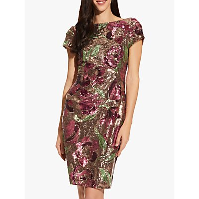 Adrianna Papell Floral Sequin Dress, Plum